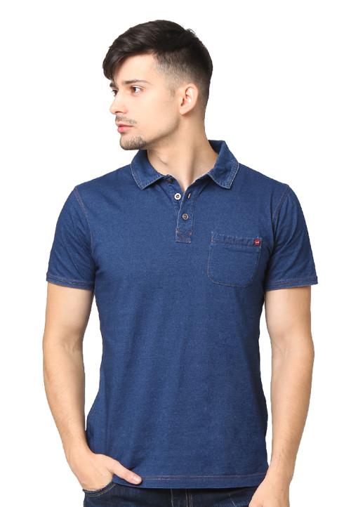 Osella Man Polo Shirt Sj Denim Knit Polos Navy Indigo