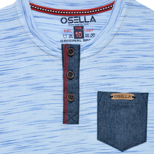 T-Shirt Fashion Slub Blue Kantong Chembre Blue