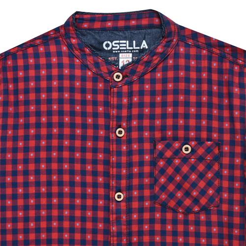 Shirt Long Kotak Kerah Sanghai Komb. L/S Red