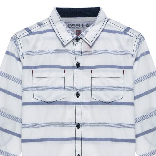 Shirt Long Stripe Check Dobby White Blue
