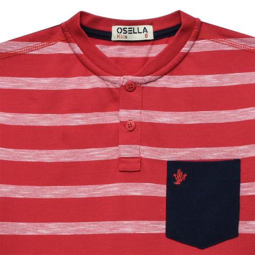 Polo Stripe Kerah Sanghai Navy Bordir Kodok Red