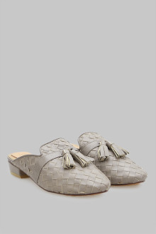 Mules Wicker Grey Tessel