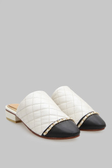 Mules Stiches White