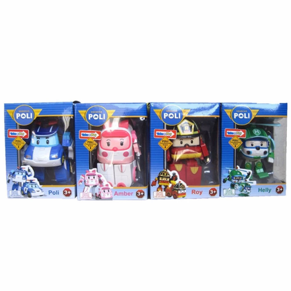 Robocar Poli 2 In 1 Transformable Robot Pullback Car Toy Mainan Source · Robocar Poli Roy Helly dan Amber Mobil Robot Car set Action figure 4pcs