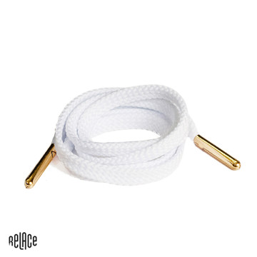 White Flat Laces - Gold Aglets image