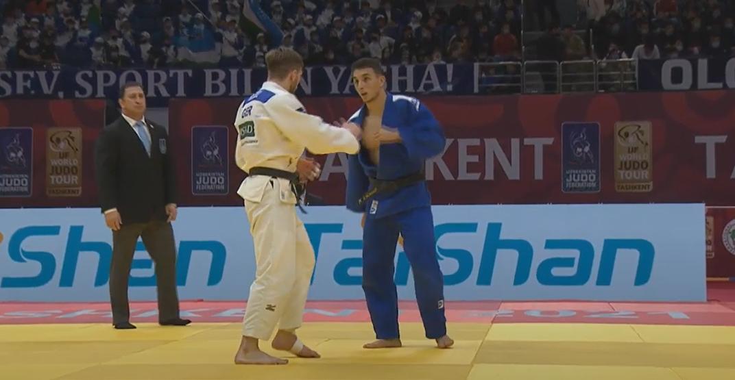 Schimidt fez um duelo equilibrado, mas foi superado pelo alemão nos segundos finais (Foto: Divulgação-FIJ)