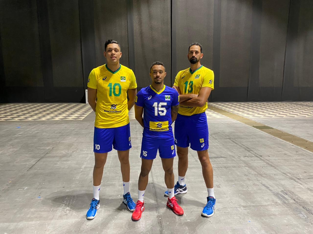 Matheus Pinta, Maique e Maurício Souza estão com a seleção brasileira, na Itália, para a Liga das Nações