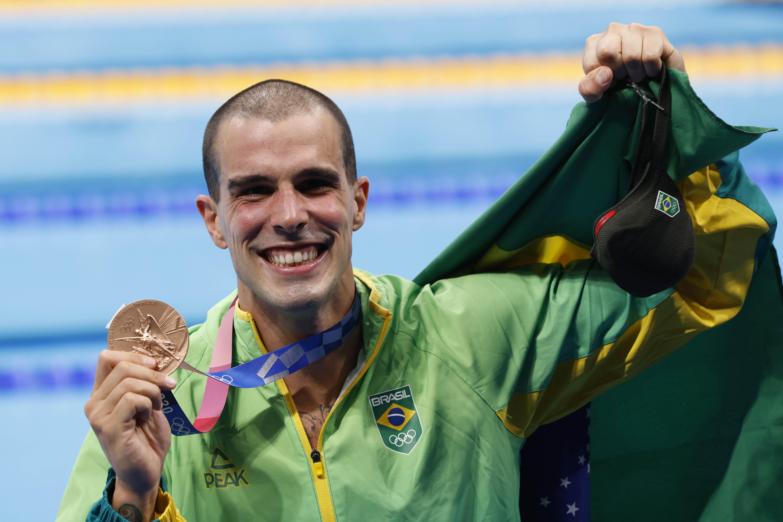 Bruno Fratus conquistou mais uma medalha para o Minas e para o Brasil na última etapa de provas da natação em Tóquio / Fotos: Satiro Sodré/SSPress/CBDA