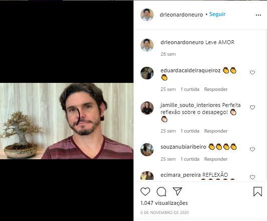Dr. Leandro Gomes de Carvallho posta no seu perfil do instagram vídeos motivacionais.