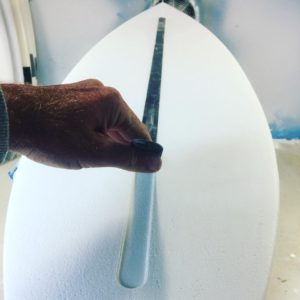 Applying the Spine-Tek composite stringer to a Clayton surfboard