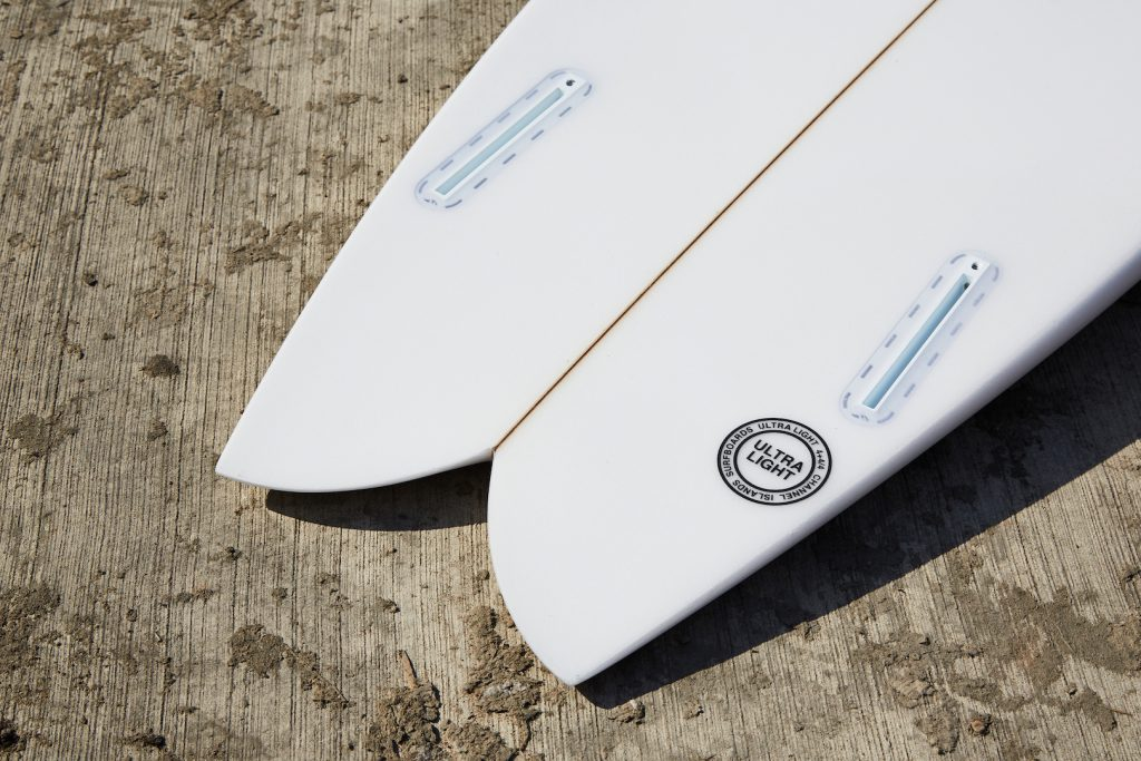 Swallow tail and Futures twin-fin set-up on the Channel Islands FishBeard surfboard, as reviewed by Angus Scotney in the Test Tub surfboard review