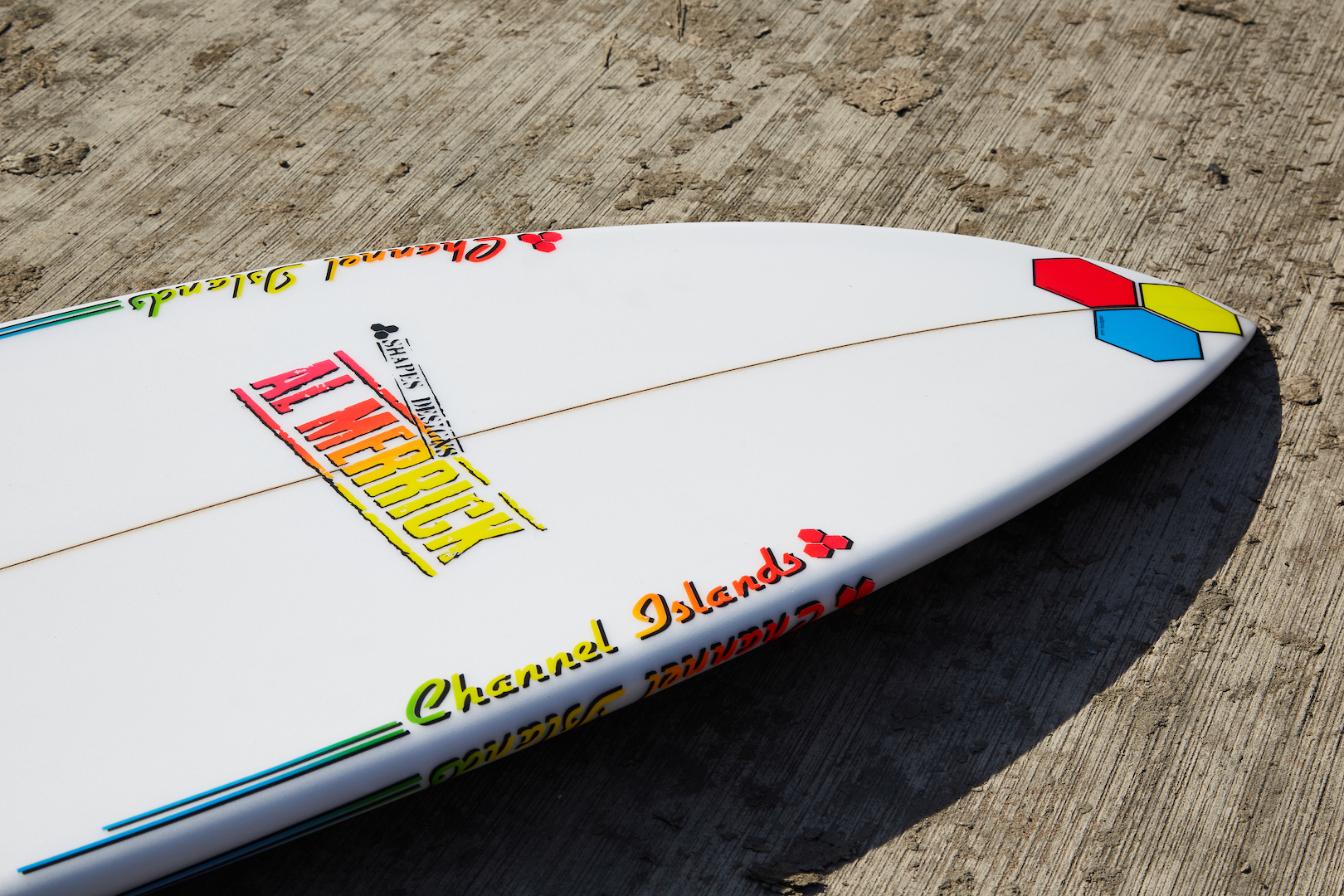 Channel Islands decals on the FishBeard surfboard, as reviewed by Angus Scotney in the Test Tub surfboard review