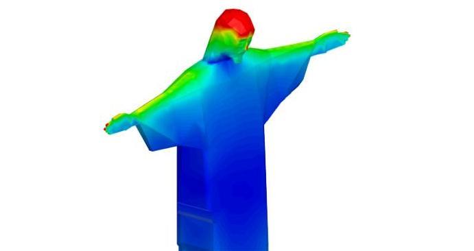Software ANSYS é utilizado para analisar a possibilidade de um raio atingir diferentes partes do Cristo Redentor, determinando a densidade da carga acumulada. As áreas destacadas em vermelho indicam as áreas de maior risco de queda de relâmpago