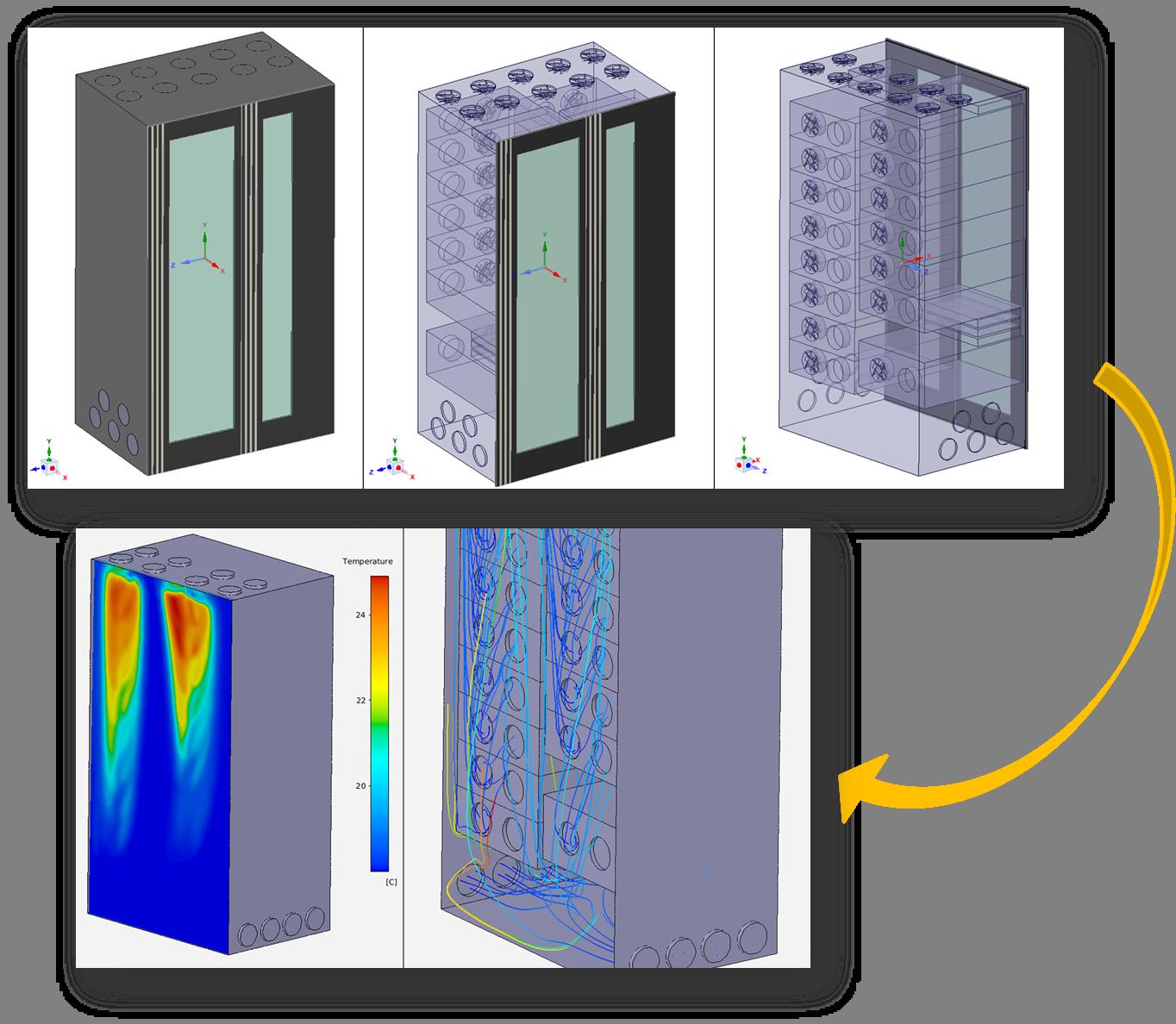 Figura 2 Linhas de correntes e Perfis de Temperatura no interior de um gabinete em uma simulação no ANSYS AIM