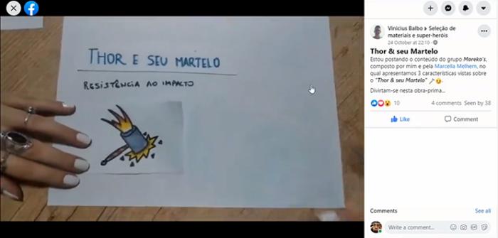 Video producido por los estudiantes de enseñanza a distancia y publicado en el grupo de actividades de Facebook.