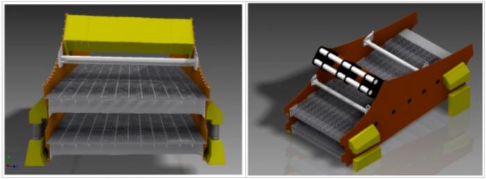 Vista frontal CAD harnero vibratorio (izquierda) y vista isométrica modelo CAD harnero (derecha)