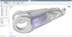 Ansys Discovery varredura em modelo 3D interface.