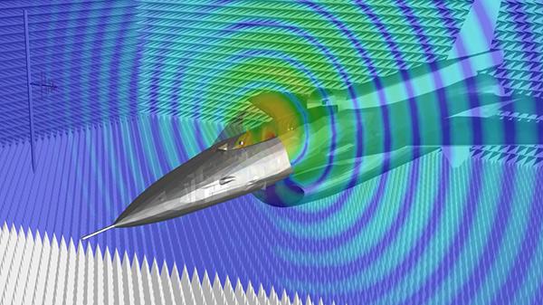 simulação de EMA3D Cable mostrando as emissões irradiadas de chicotes de cabos dentro de um avião