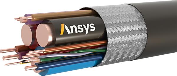 Típico haz de cables con conductores trenzados y blindaje trenzado EMA3D Cable Ansys
