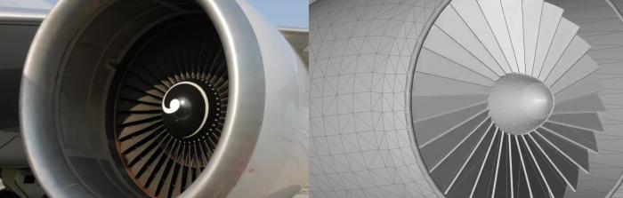 Imagem de uma turbina e seu digital twin