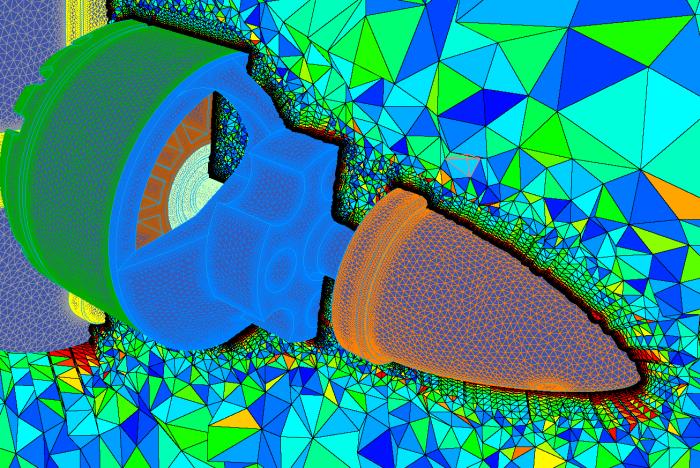 Malhas superficiais coloridas pela razão de aspecto da célula.