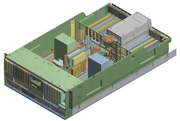 Geometría de elementos finitos de un servidor de energía 4U de IBM listo para ser sometido a pruebas contra choques.