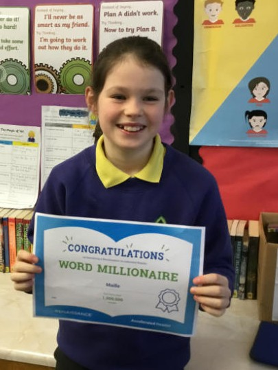 Congratulations Maille, you are an Accelerated Reading word millionaire.  Keep up the amazing reading.