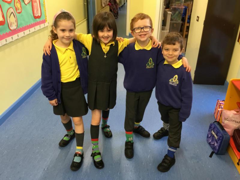 Odd socks in Miss O'Hanlon's P2 class.