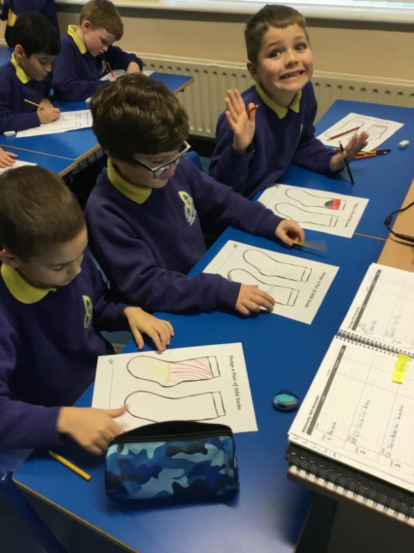 Creating some colourful 'Odd Socks' in Mr Dooris' P4 class