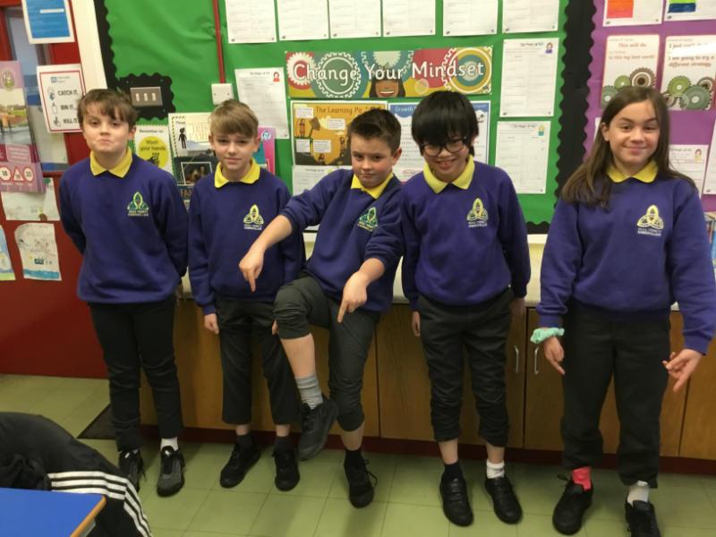 Mrs Clarke's P7 class enjoying odd socks day