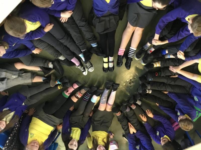 Mr Starrs' P7 class odd socks day display.