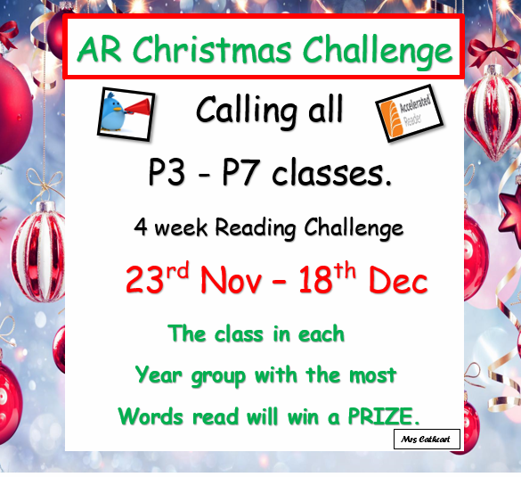 The class in each year group with the most words read at the end of the 4 weeks will win a PRIZE.