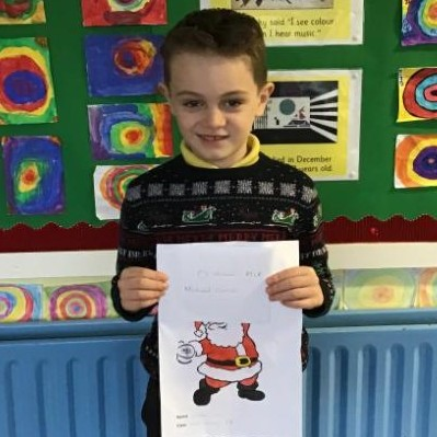 Gaels Christmas colouring competition winner, well done Michael, P3..