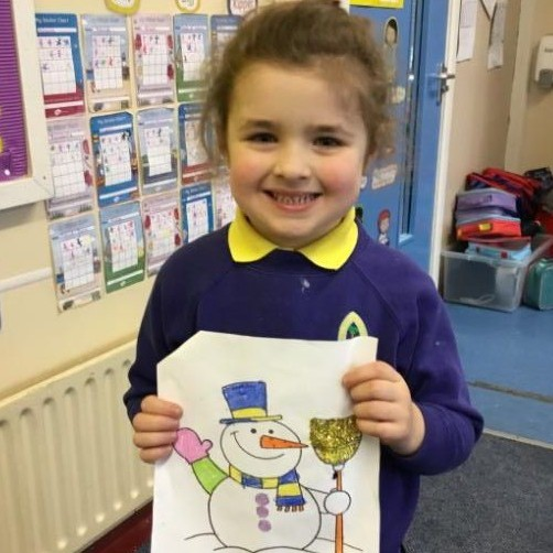 Gaels Christmas colouring competition winner, well done Vilte, P1.