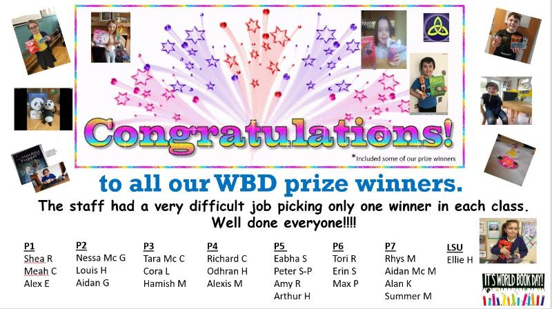 Congratulations to all our World Book Day competition winners.  Staff found it very difficult to choose a winner in each class.