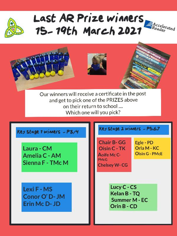 Congratulations to our AR prize winners for week 15th - 19th March 2021