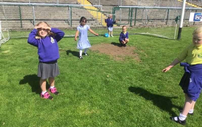 P1 enjoy their sponsored walk: having a run out at Brewster park