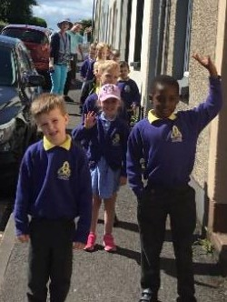 Mrs McCann's P1 class out on their sponsored walk