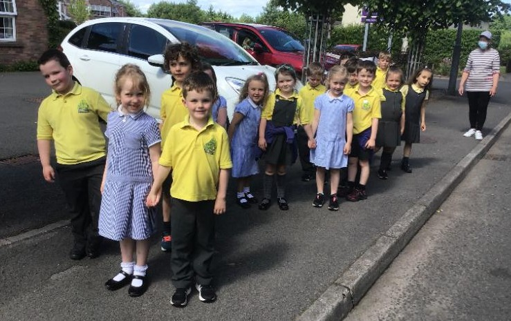 Miss Farley's P2 class out on their sponsored walk.
