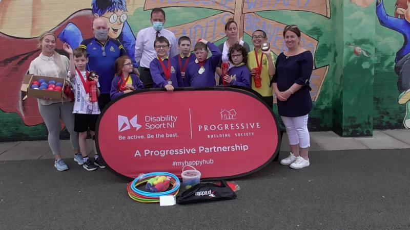 Northern Ireland winning Boccia Teams along with Mr Reihill (VP), Joe, Mrs O;Connor, Denise and