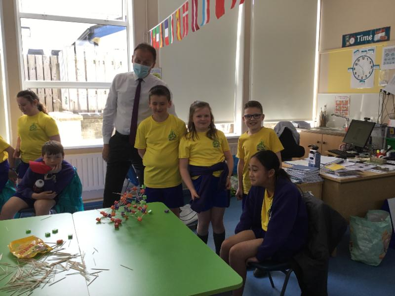 Mr Reihill judging the Eiffel Towers build by some of the P6 pupils