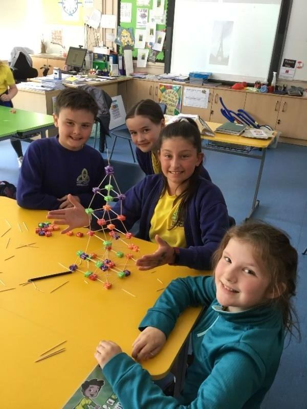 Pupils from Mrs Cathcart's P6 class build the Eiffel Tower