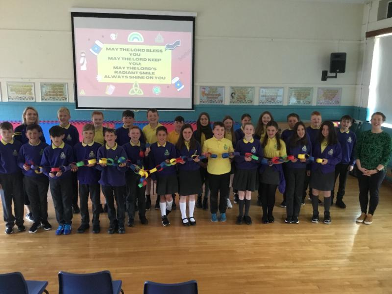 Mrs McGurks P7 class after their end of year Prayer Service with Catherine