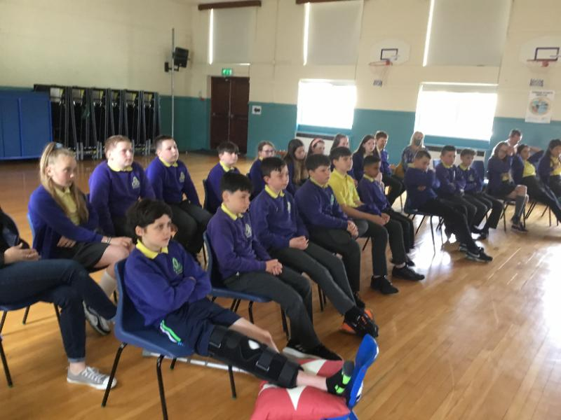 P7s attending their end of year prayer service with Catherine