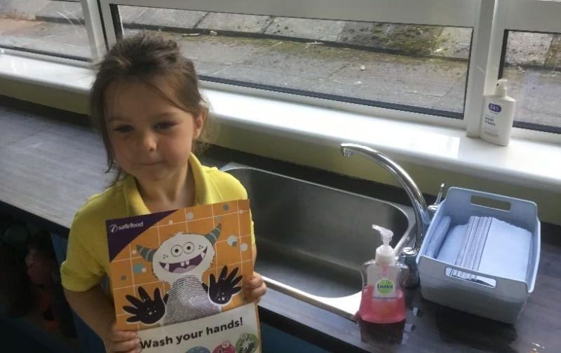 Mrs McMenamin's P1 class: washing hands is important