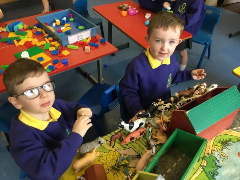 Mrs Fee's P1 class: playing with farm animals
