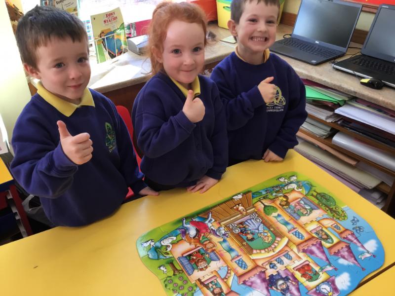 Mrs McCann's P1 Class: building jigsaws.
