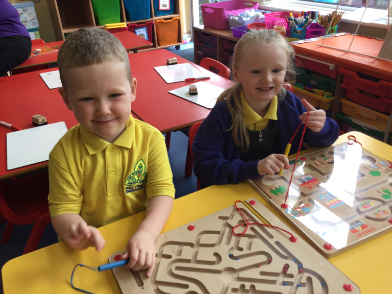 Mrs McCann's P1 Class: playing with puzzles.