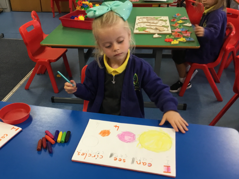 Mrs McCann's P1 Class: drawing and colouring.