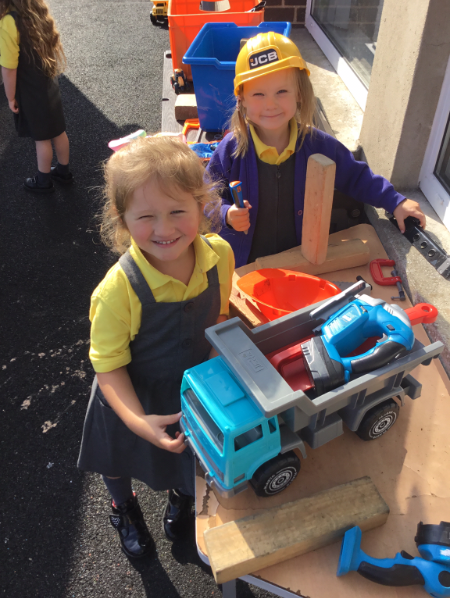 Mrs McCann's P1 Class: construction at playtime.